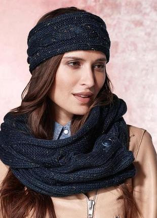 Вязанный крупной вязкой шарф-снуд 2 в 1 размер универсальный, 190 см на 30 см