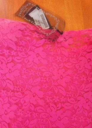 Розовое трикотажное платье с кружевом club l4