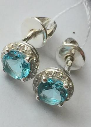 Новые красивые серебряные серьги гвоздики куб.цирконий серебро 925 пробы