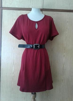 Трикотажной вязки платье бордо, 3xl.