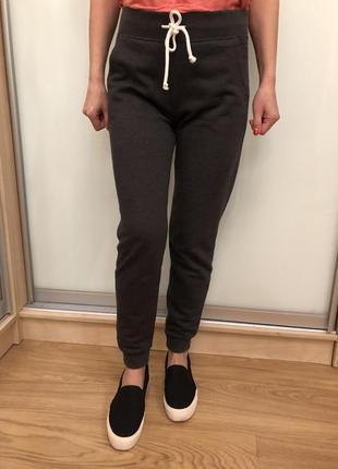 Спортивные штаны, брюки, тонкий флис весна-осень h&m xs 2 шт синий и серый
