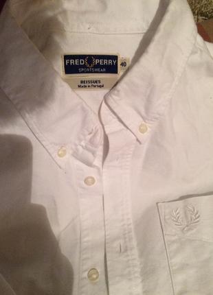 Мужская рубашка белая  fred perry / фред перри