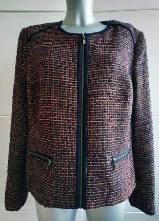 Стильный пиджак marks&spencer из твида с молниями