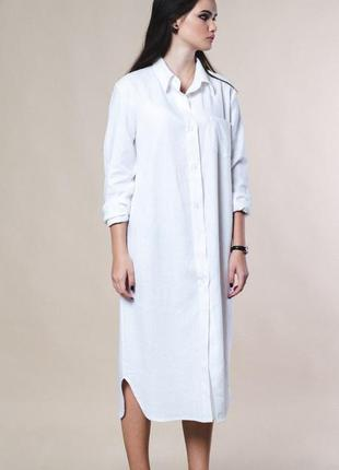 Льняное платье-рубашка!  единый размер 42-46.