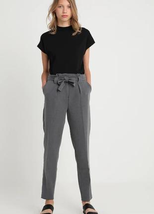 Обнова! брюки штаны кежуал высокая талия на поясе укороченные зауженные серые