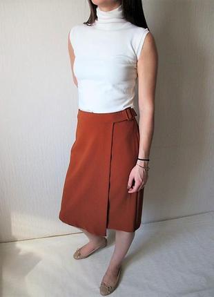 Терракотовая юбка  миди с запахом купить цена