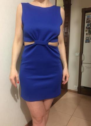 Платье синее коктейль или вечер, клуб