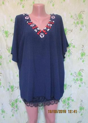 Блуза с декором + майка с кружевом/батал uk 22/наш 54-56 размер
