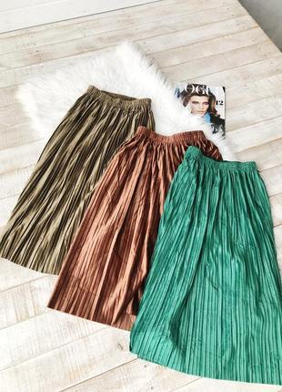 Велюровые юбки плиссированные5