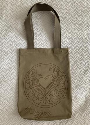 Эко сумка торба шоппер @don.bacon кофе coffee хаки3 фото