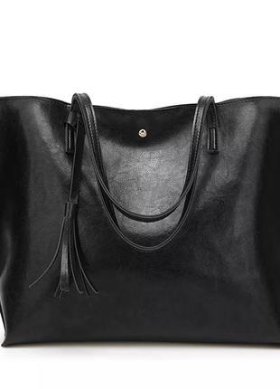 Сумка женская бордовая большая шоппер черная кожаная жіноча новая