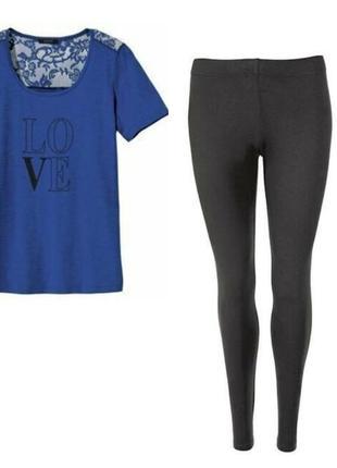 Женский комплект футболка с кружевом, леггинсы лосины esmara германия, хl