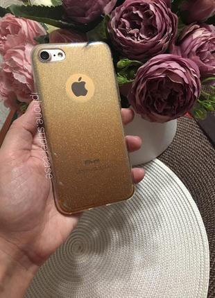 Блестящий силиконовый чехол на айфон iphone 7
