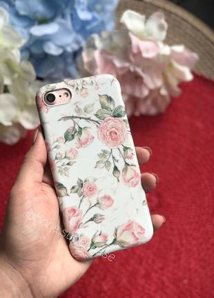 Красивый силиконовый чехол с цветами на айфон iphone 6/6s 7/8