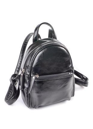 Маленький молодежный рюкзак черный глянцевый городской мини из кожзама