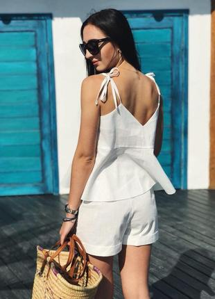 Красивый и стильный костюм лен (блуза +шорты) на лето