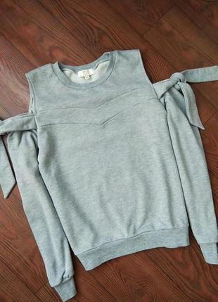 Кофта толстовка свитшот свитер с открытыми плечами с завязками !