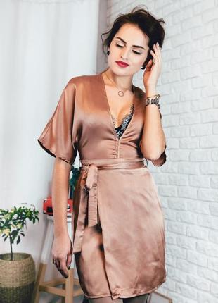 Платье атласное бежевое в бельевом стиле размер xs missguided