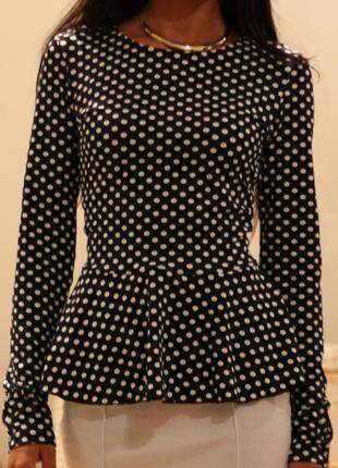 Блуза женская с баской в горошек