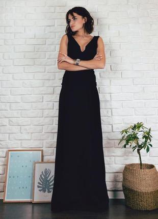 Вечернее черное платье с открытой спиной по фигуре длинное в пол размер xs s missguided