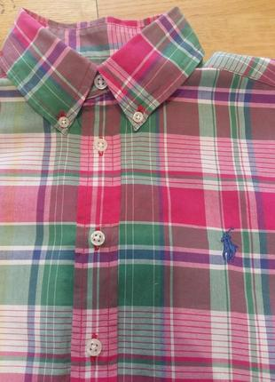 Клетчатая яркая рубашка с коротким рукавом шведка ralph lauren на 10-12 лет