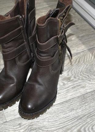 Ботинки river island коричневые кожаные брендовые 37 каблук крутые