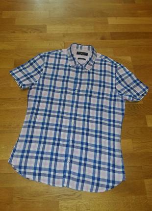Льняная яркая рубашка с коротким рукавом шведка paul costelloe размер s