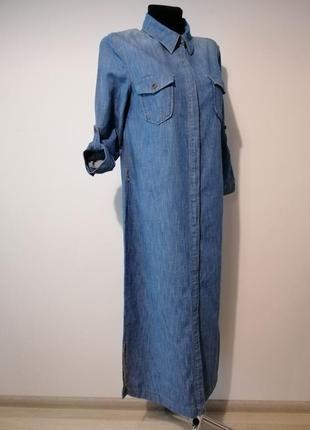 Стильное длинное джинсовое платье рубашка