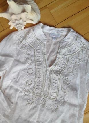 Расшитая льняная рубашка-туника charter club
