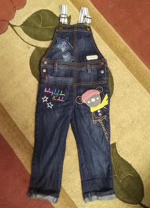 Крутой джинсовый комбинезон на подтяжках next на 3-4года