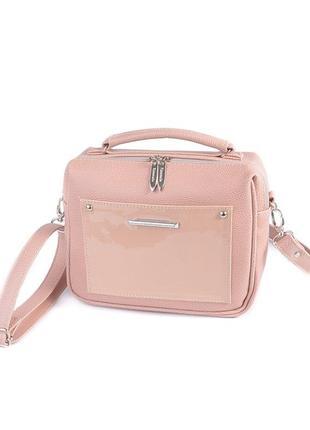 Маленькая розовая сумка кросс боди летняя пудровая через плечо