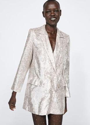 Пиджак блэйзер в пайетки цвета шампань от zara! в наличии размер м