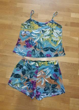Нежный комплект костюм шорты и майка-топ girassol moda feminina на размер m-l