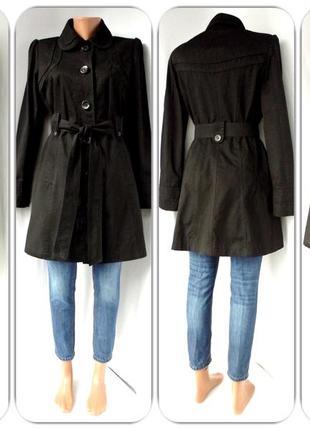 Стильный модный черный тренчкот, плащ next.  размер uk12(m).