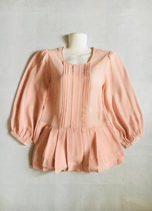 Нарядная шифоновая блуза пудрового цвета