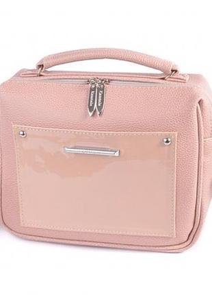 Пудровая розовая маленькая сумка чемоданчик с ремнём через плечо .кросс боди летняя