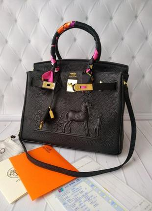 Сумка кожаная женская деловая шоппер черная стильная с лошадкой