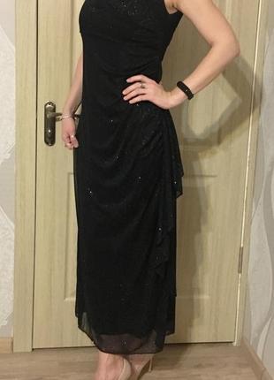 Платье вечернее с блестками, длинное платье