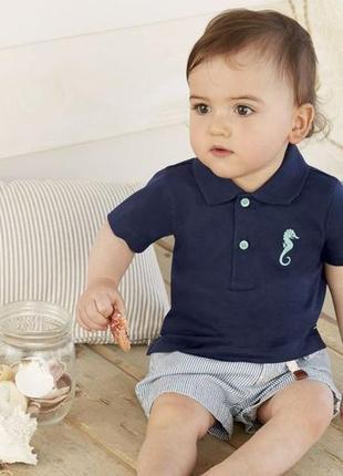 Хлопковая футболка поло 74/80 р. на 6/12 месяцев lupilu германия.