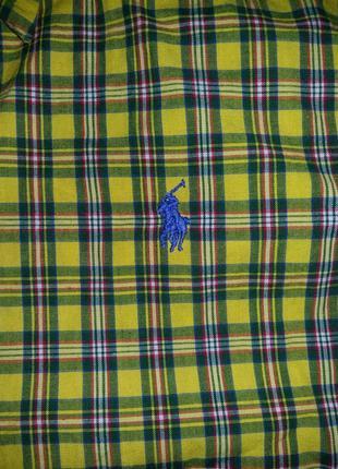 Стильная яркая рубашка с коротким рукавом шведка ralph lauren на 7-8 лет