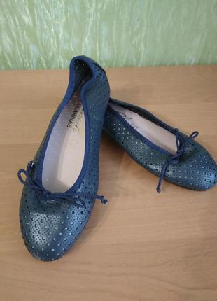 Темно-синие балетки- туфли без каблука/ кожа/новые/spanish bailarinas /испания/38 разм