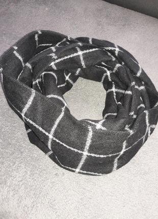 Хомут шарф by henri holland теплый черный с белыми полосами оригинал