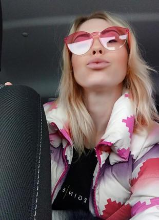 Модные женские красные розовые очки без оправы мода 2019 прозрачные цветные