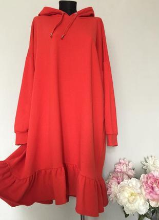 Стильное платье худи оверсайз с рюшками