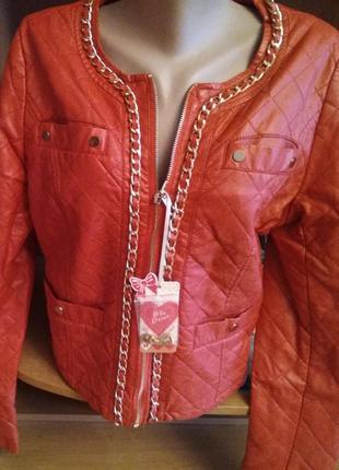 Новая курточка из экокожи, размер xl, 12-14