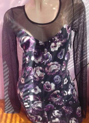 Отличнее эффектное летнее платье хлопок и сеточка с рукавами h&m р.с/м s/m