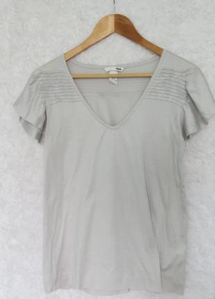 Классная серая футболка блузка с рукавом а-ля бабочка от h&m s 36-m-38