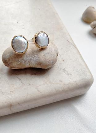 Хит! любимые серьги «жемчужинки», натуральный барочный жемчуг, позолота 24к