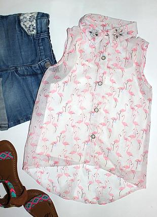 Блуза с фламинго tu р.110, 5 лет