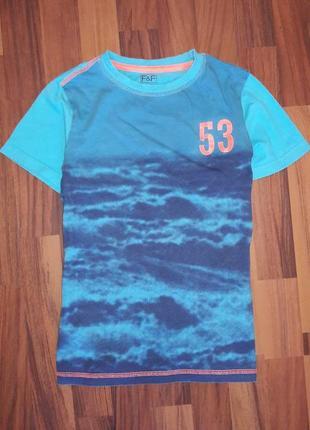 Голубая футболка  f&f, р 10-11лет